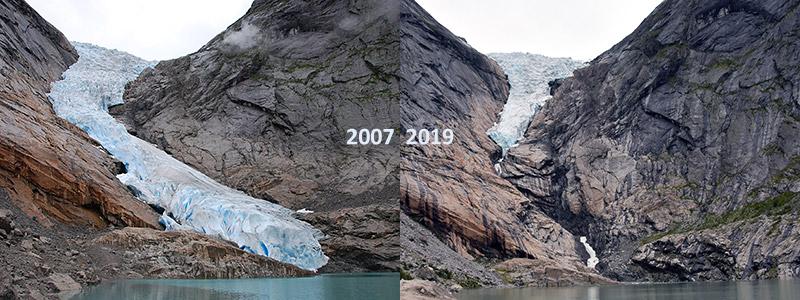 Briksdalsbre neemt snel af in omvang: na 2100 geen gletsjers meer in Noorwegen